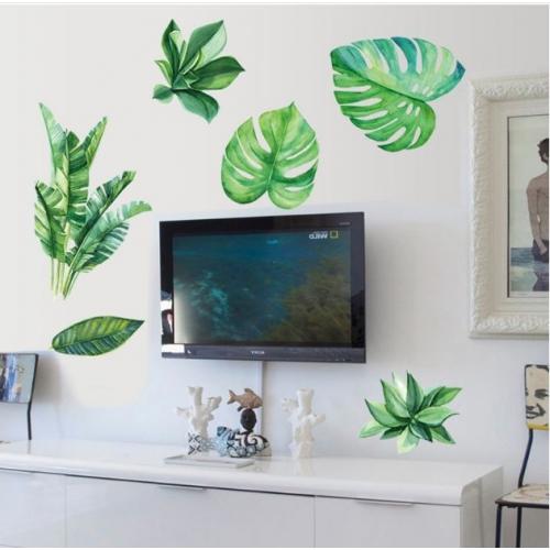 Decal dán tường lá xanh nghệ thuật