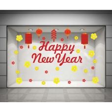 Decal happy new year và hoa mai vàng