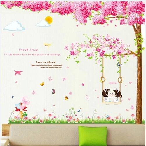 Decal dán tường Combo Cây đào hồng size 2 tấm   Xích đu hồng