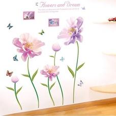 Decal dán tường hoa phù dung tím