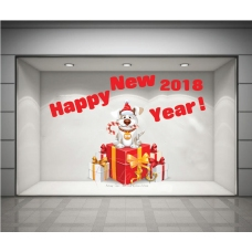 Decal Happy New Year 2018  và hộp quà đỏ