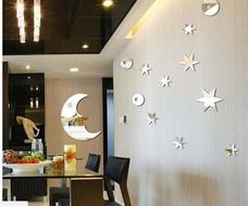 Decal tráng gương mặt trăng và sao