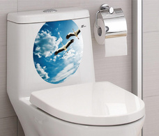 Dán toilet bầu trời xanh