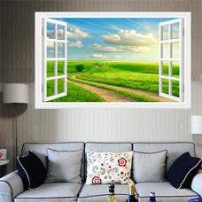 Tranh cửa sổ con đường cánh đồng xanh