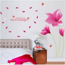 Decal dán tường hoa giấy hồng