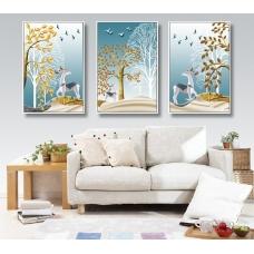 Tranh treo tường đôi hươu và cây cách điệu 3