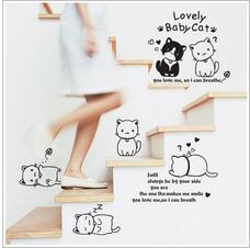 Decal dán tường đàn mèo tinh nghịch