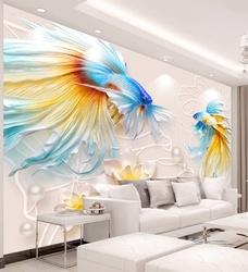 Tranh dán tường đàn cá sắc màu