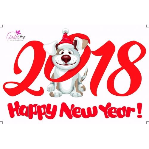 Decal Happy new year và cún vui đón tết