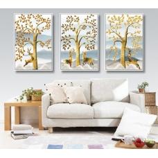 Tranh treo tường đôi hươu và cây cách điệu 2