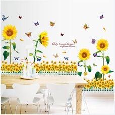 Decal dán tường Combo Hướng dương vàng 1 Chân tường hoa hướng dương vàng 2