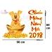 Decal Chúc Mừng Năm Mới 2018 và cún vàng may mắn