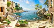 Tranh dán tường biển xanh 4