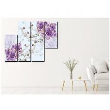 Tranh treo tường cách điệu hoa hồng tím