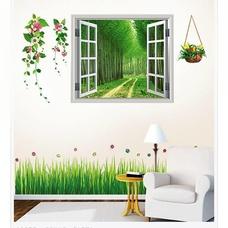 Decal dán tường Combo Cửa sổ 2   Chân tường cỏ xanh