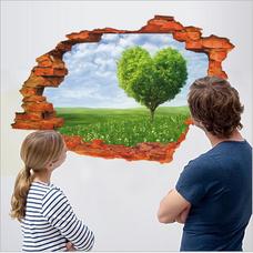 Decal dán tường Hiệu ứng 3D Trái tim xanh