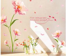 Decal dán tường hoa phù dung hồng