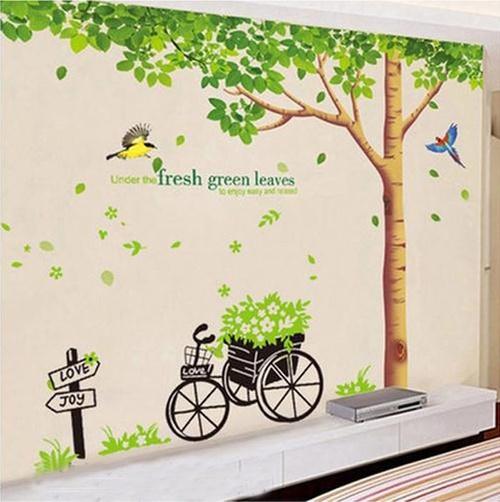 Decal dán tường Combo Cây bóng mát 1   Xe đạp xanh