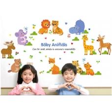 Decal dán tường vườn thú baby animals
