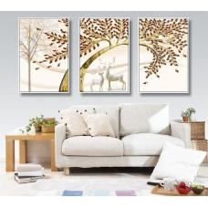 Tranh treo tường đôi hươu và cây cách điệu