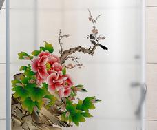 Decal kính mờ hoa mẫu đơn
