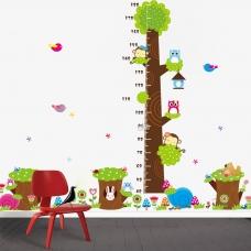 Decal dán tường thước đo 3 gốc cây xanh