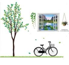 Decal dán tường Combo Cây xanh xe đạp to   Cửa sổ 3