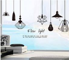 Decal dán tường chùm đèn trắng đen