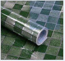 Decal dán bếp họa tiết ô vuông xanh 2