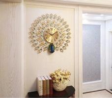 Đồng hồ treo tường đính đá chim công xanh 2
