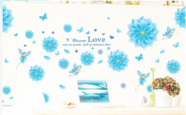 Họa tiết hoa cúc xanh dương